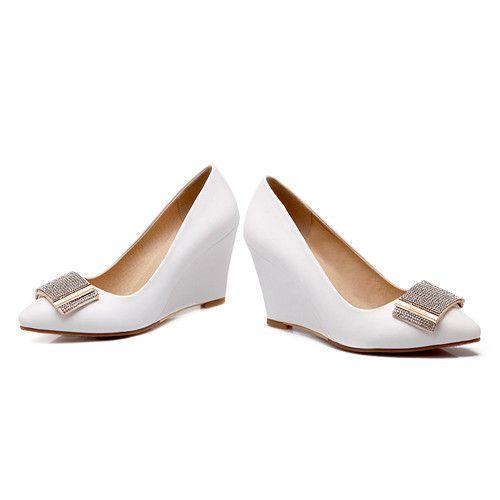 Большой размер 41 42 мода женская туфли на высоком каблуке осень острым носом карьеры высокой пятки клинья женские блеск фиолетовые туфли Z AC09 купить на AliExpress