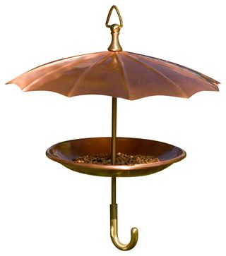 Copper Umbrella Bird Feeder - traditional - bird feeders - H Potter