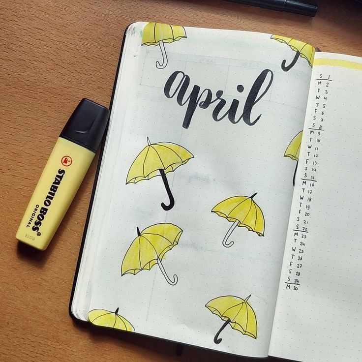 April bullet journal cover page, hand lettering, umbrella drawings.
