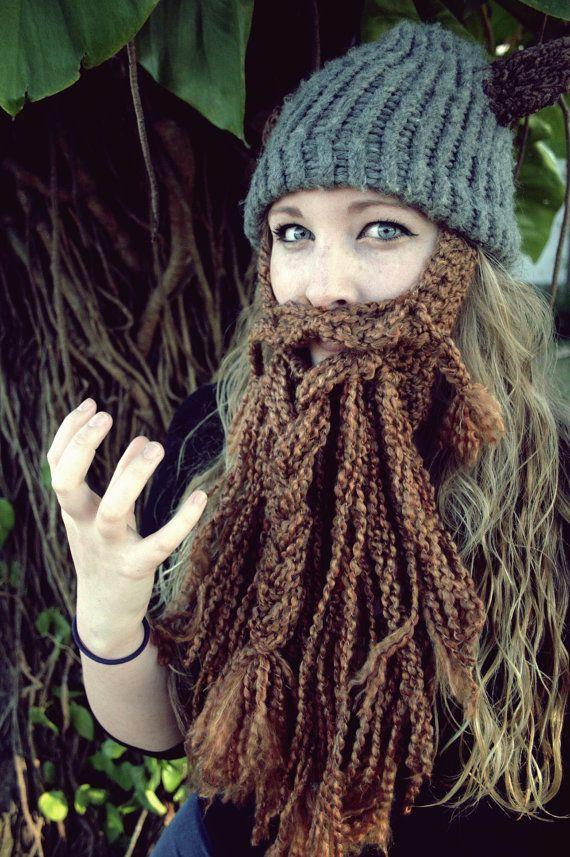 Casco y barba personalizados ganchillo épica enano/Viking