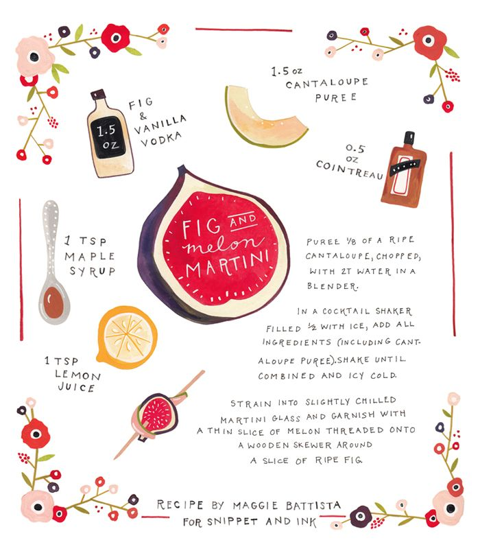 Recipe Card | Fig & Melon Martini | Snippet & Ink // not sure how easy this would be to make on your own, but this is a cool way to have recipes!!