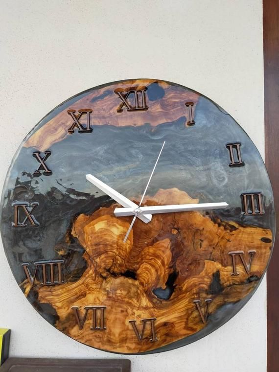 Olive Wood And Marbled Black Resin Wall Clock Wooden Clock Black Marble Clock Art Decor Wall Clock Wall Clock In 2020 Wall Clock Wooden Rustic Wood Clocks Clock Wall Decor