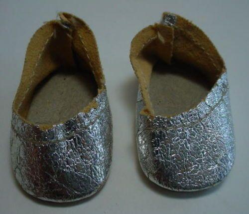 Vintage Doll Shoes Silver Slipper OilCloth Alexander Littlest Angel R&B Arranbee