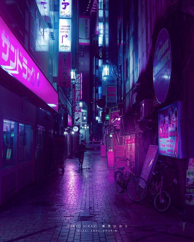 Photographie de rue dans les villes Synthwave, photographie de nuit sur cyberpunk, retouche picture