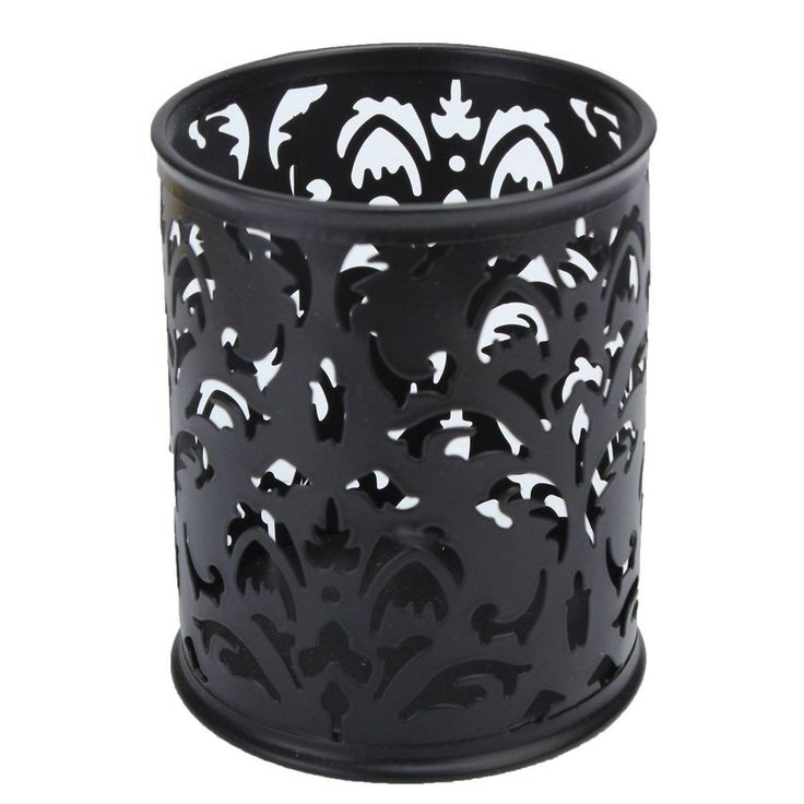 KINGSO Metal Pen Holder Pen Pot Hollow Flower Pattern Round Black: Amazon.co.uk: Office Products