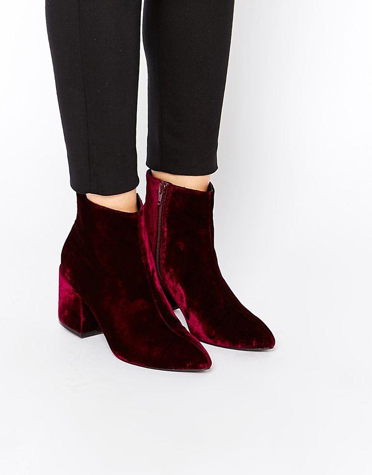 ASOS RADIO STAR Pointed Velvet Ankle Boots