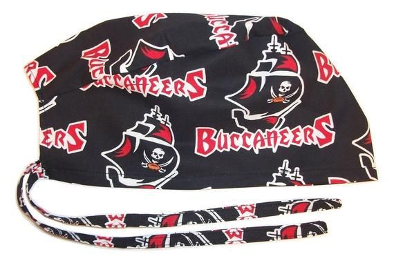 Mens Surgical Scrub Hat Handmade In The Usa Tampa Bay Buccaneers Cotton Fabric Nurse Cap Tie Back Doctor Er Chemo Surgery Skull Scrub Hats Surgical Scrub Hats Nursing Cap