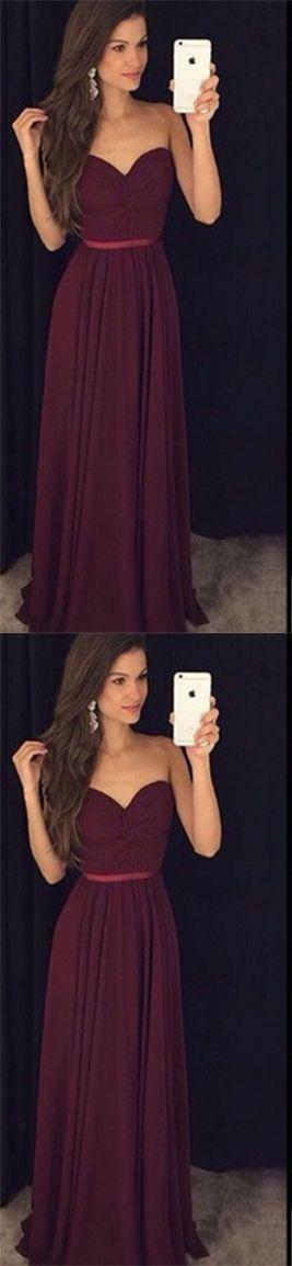 Charming Wine Red Chiffon Sweetheart Chiffon Prom Dress Burgundy Prom Dresses