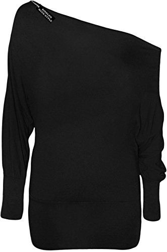 49b6c5f87506ce NEW LADIES BATWING TOP LONG SLEEVES OFF SHOULDER BAGGY SLOUCH PLUS SIZE  8-34