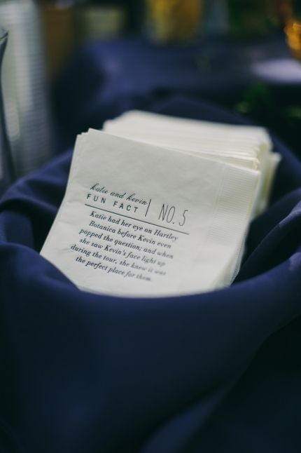 Fun facts on cocktail napkins. Cute personal touch for wedding cocktail hour. Navy wedding. Hartley Botanica Wedding