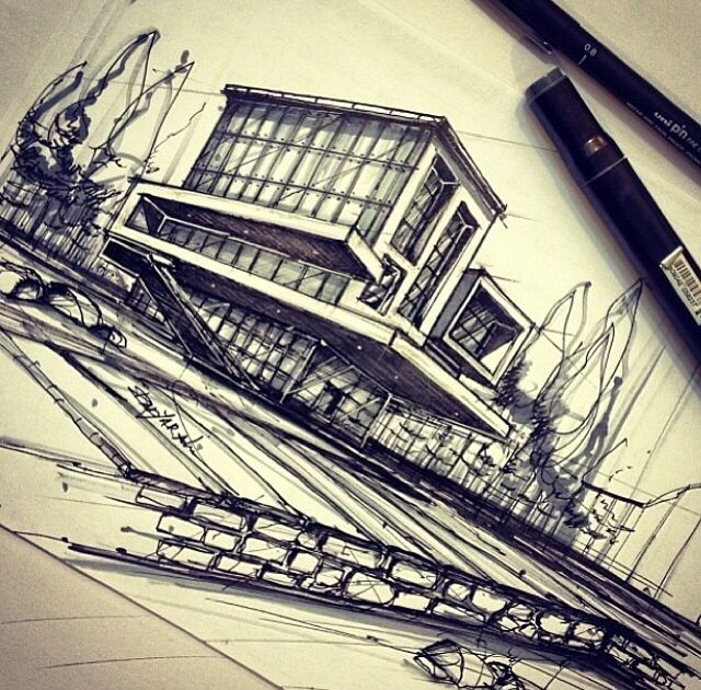 Architecture Drawing Hand