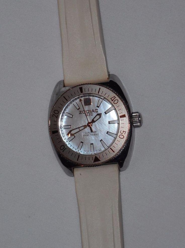 Zodiac Desert Falcon Swiss Made Watch White ZS4518 Water Resistant Not Running #Zodiac