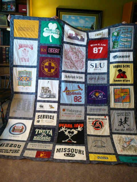 t-shirt quilt - I've been saving all my McT and JC shirts for years wanting to make a quilt out of them! Got the sewing machine, just got to learn how to use it!