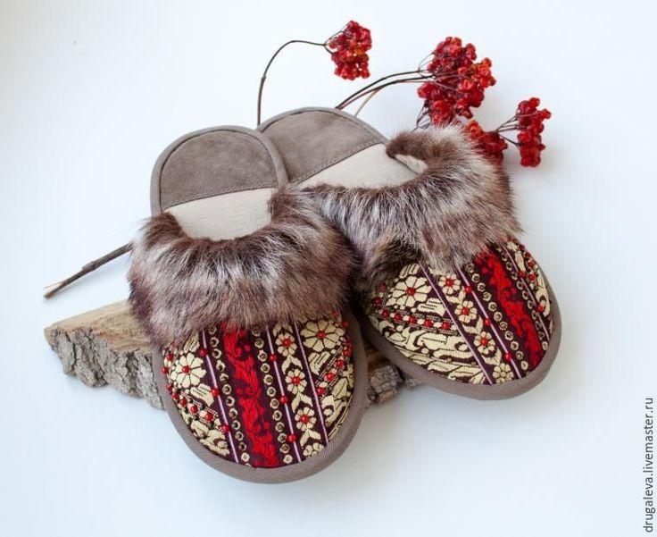 Шьем уютные домашние тапочки в русском стиле «Сударушка» - Ярмарка Мастеров - ручная работа, handmade
