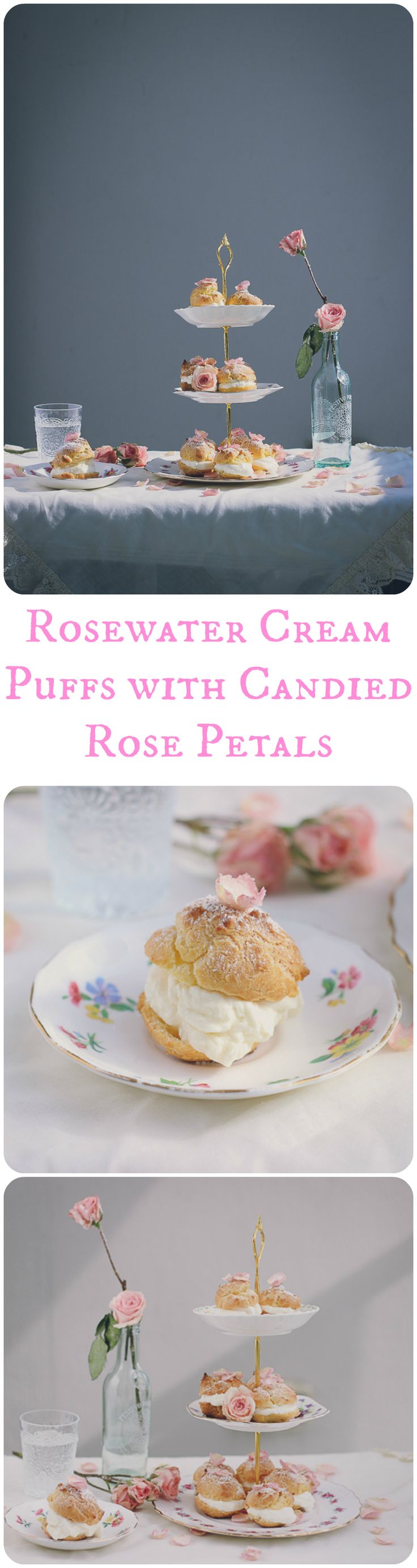 Rosewater Cream Puffs with Candied Rose Petals. Easy, elegant, and fun! #PersianRecipe #creampuff #rosewater