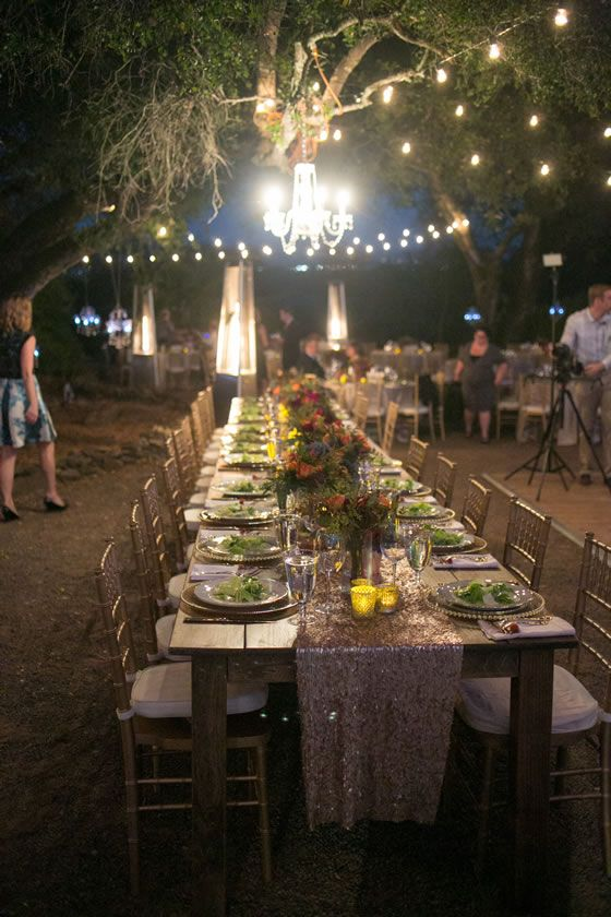 Pretty wedding lighting: A crystal chandelier, string lights and heat lamps. Venue: Thomas ...