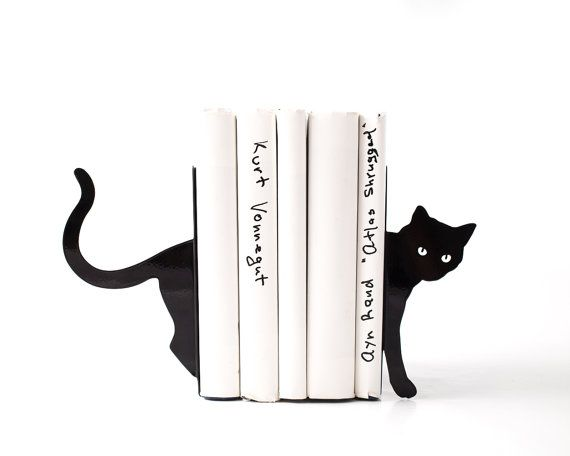 Metal Bookends - Cat and books - functional decor modern home // housewarming gift for cat lover // book lover // FREE SHIPPING