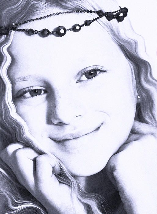 Photograph of young girl edited into blue and added many dots to give the impression of an old photo #beautiful #princes #poster #girl