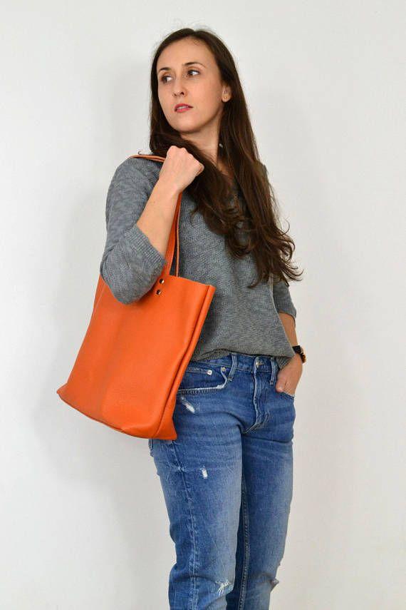 Orange Leather tote Large LEATHER TOTE Tote bag leather