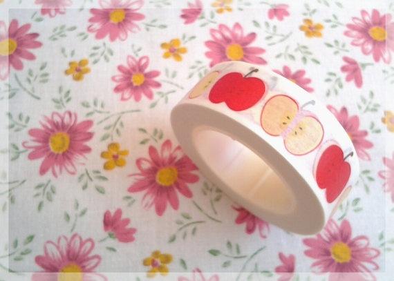 Gakken Fun Tape red apples masking tape by thujashop on Etsy, $4.70