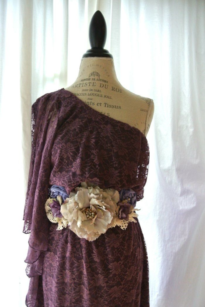 One shoulder lace dress, gypsy cowgirl plum fall tunic dress, rustic farm girl,  womens clothing, cottage, romantic. $82.00, via Etsy.