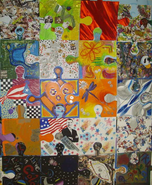 puzzle project tim kelly artist monmouth arts council teen arts festival art is good, Colaborative Project....I would do it differently...this is perfect idea for design lesson and P's & E's lesson! I love installations, but they should be about ART! Mrs. Bieber