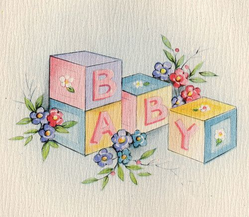 Vintage Greeting Card c1946-1947   can paint this on any piece of furniture for my store