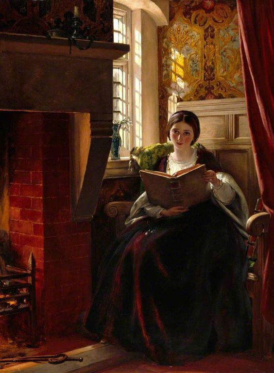 """Readers reading #3 A Pleasant Corner (1865) – By John Callcott Horsley: 1817 – 1903. Donated to the Royal Academy by the artist. """"Sorry to disturb you, thought you might like a cup of t…"""