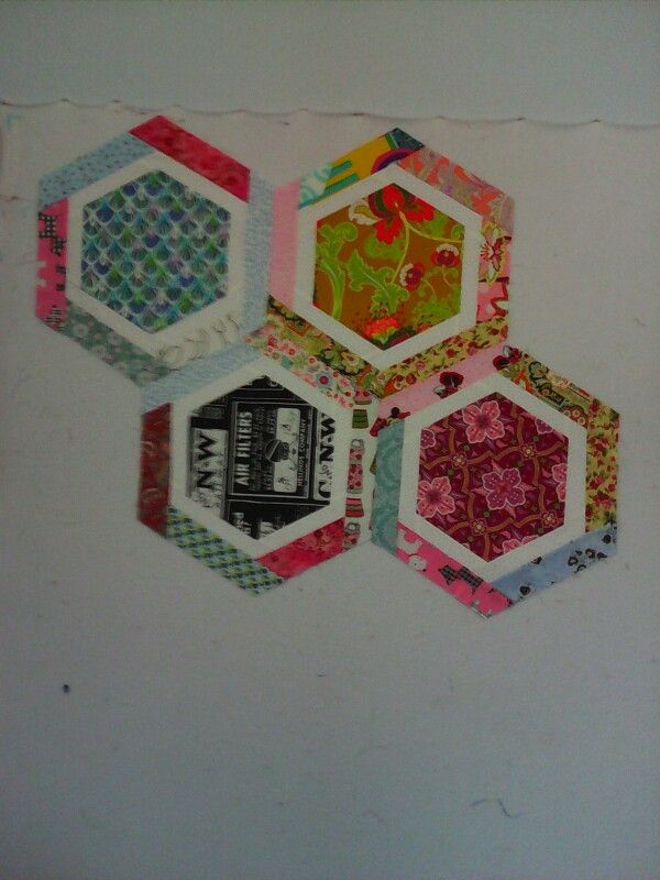 "My #""y"" seams. Not bad for 1st attempt on my #hexagon #quilt. Just a few more to go."