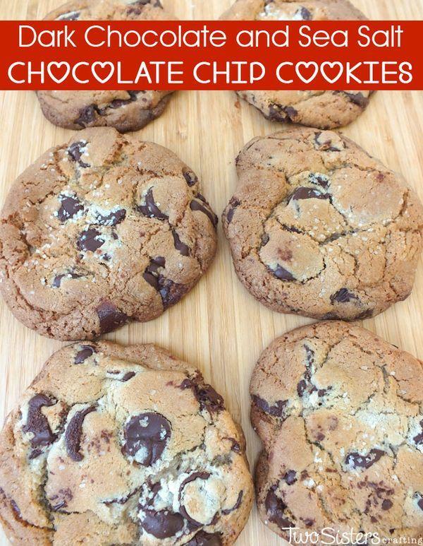 recipe - chocolate chip cookies made with dark chocolate and sea salt ...