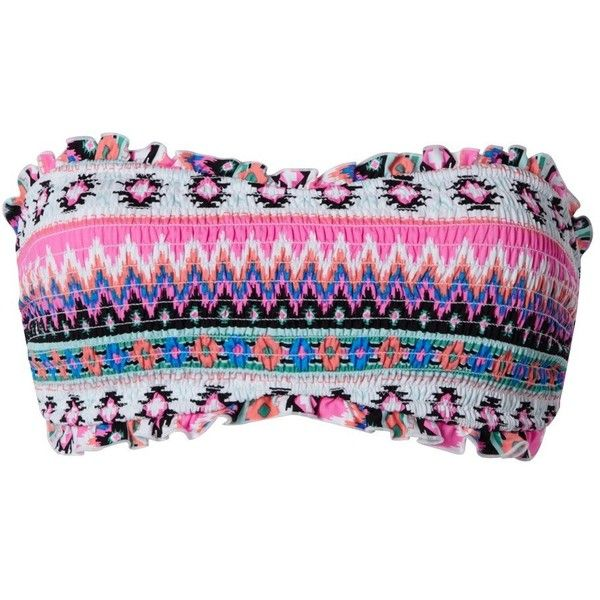 Aztec Smocked Bandeau Top ($12) ❤ liked on Polyvore