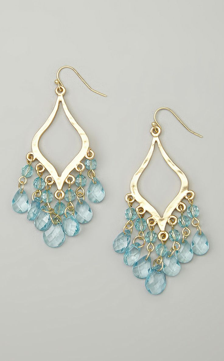 Gold & Aqua Lacey Drop Earrings