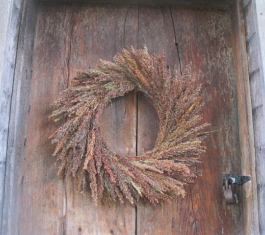 BROOM CORN  WREATH  all natural sorghum  decoration  for door or wall