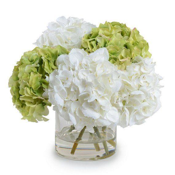 Silk Off White Green Hydrangeas Arrangement Centerpiece Etsy In 2020 Hydrangea Arrangements Fake Flower Arrangements Hydrangea Flower Arrangements