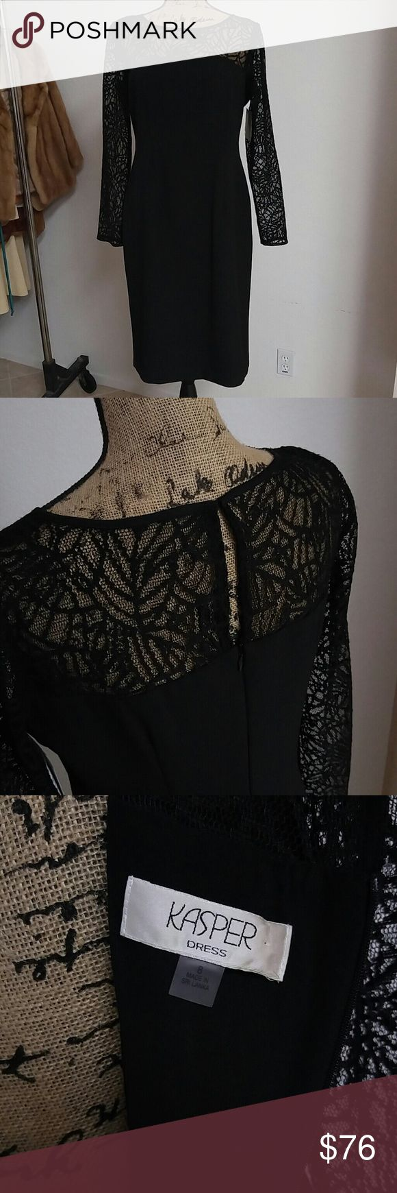 💎Old Hollywood Glam Little Black Dress💎 NWT Form fitting black dress by KASPER, web like lace sleeves. Delicate eyelet closure in the back as well as zipper. Shoulder to Shoulder 15 1/2, Just 17 1/2, Waist 16 1/2, Hips 20', Underarm to Bottom Hem. What I love about this piece is that you can dress it up with just about anything, as you can see with one of the pics I took. Look like the boss at the office or looked refined and elegant for any dinner party! Kasper Dresses