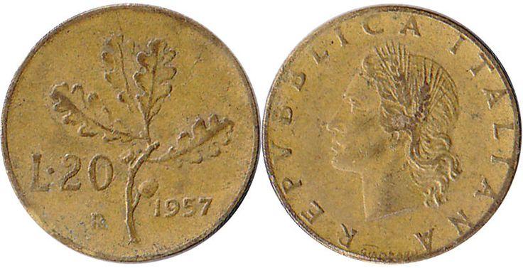Moneta 20 lire quercia 1957 gambo stretto bordo rigato repubblica italiana 4
