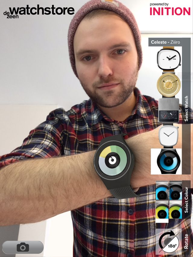 Dezeen Watch Store uses augmented reality for consumers to try watches at Hackney House Austin 2014