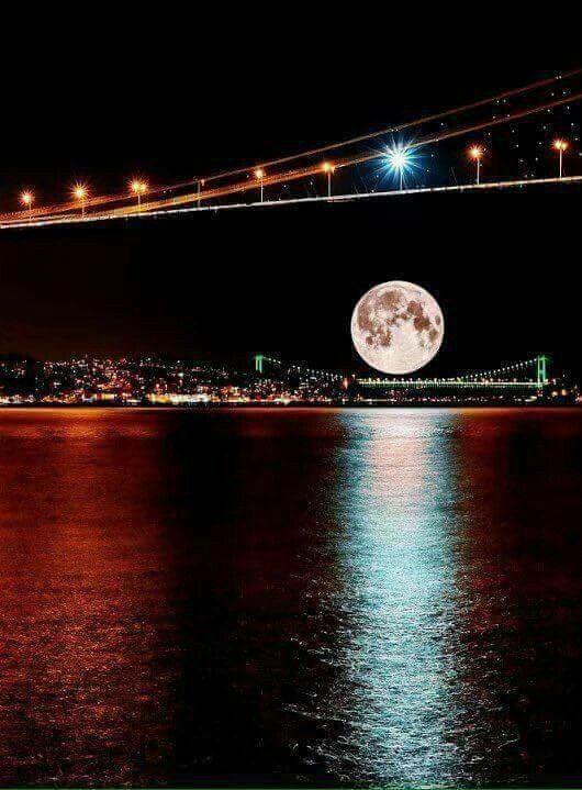 Istanbul's Bridges with Full Moon.
