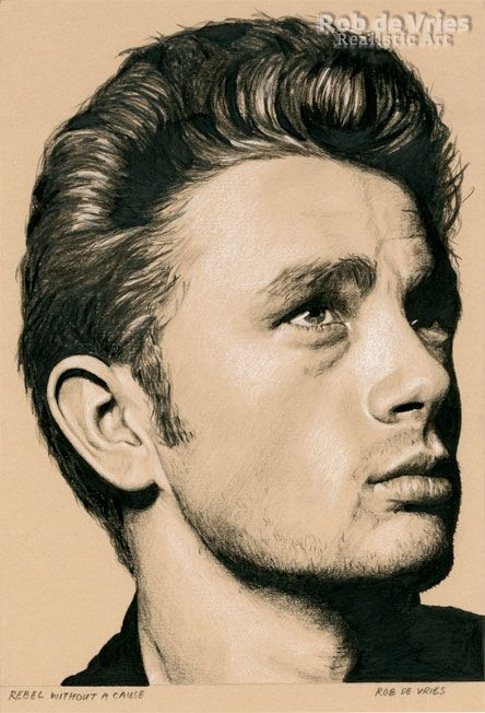 """December 2016, James Dean """"Rebel without a cause"""", Charcoal, ink and white chalk on colored paper, 21 x 15 cm. www.robdevries.com"""