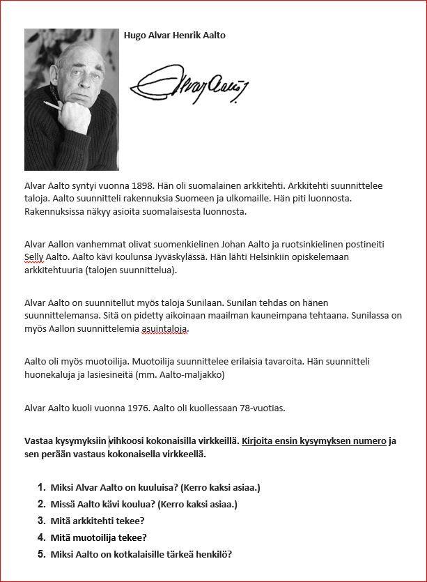 Alvar Aalto tietoteksi.