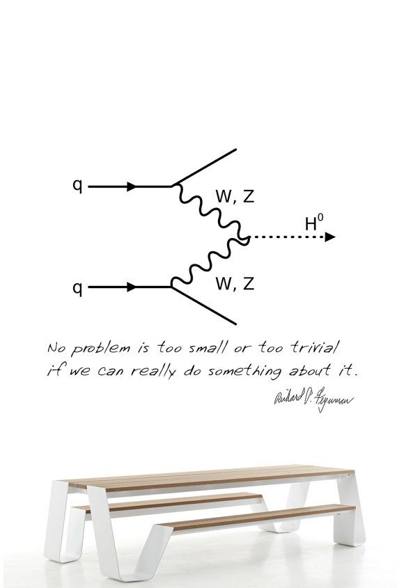 Science art physics Feynman diagram and quote by cutnpasteshop, $35.00