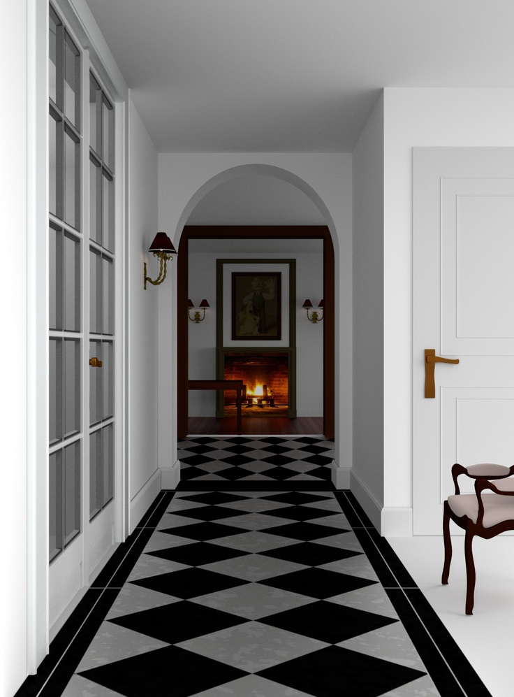 I found a nice picture of a Belgian manor house corridor and wanted to recreate it in Blender. This is about 80% done, I still have to add some light fixtures and sundries. And the door handle will be made less modern.