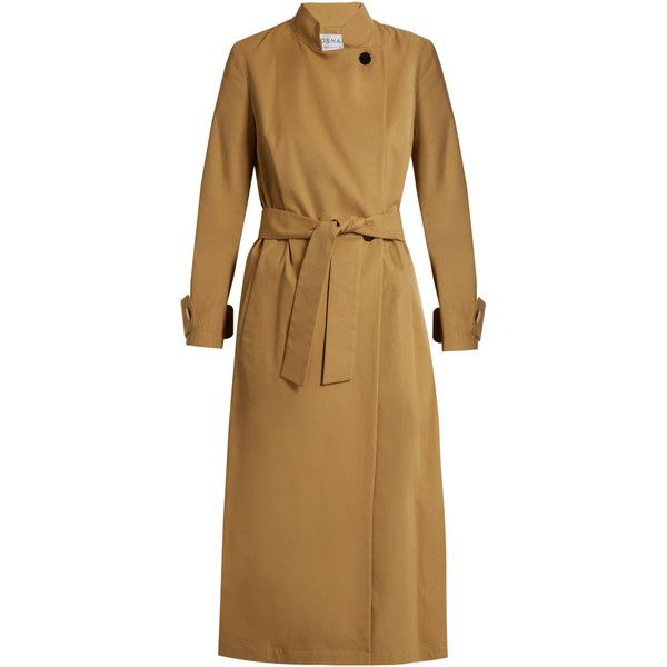 Osman Perfect 5 Nura cotton-twill trench coat ($988) ❤ liked on Polyvore featuring outerwear, coats, beige, osman, beige trench coat, beige coat, trench coat and brown trench coat