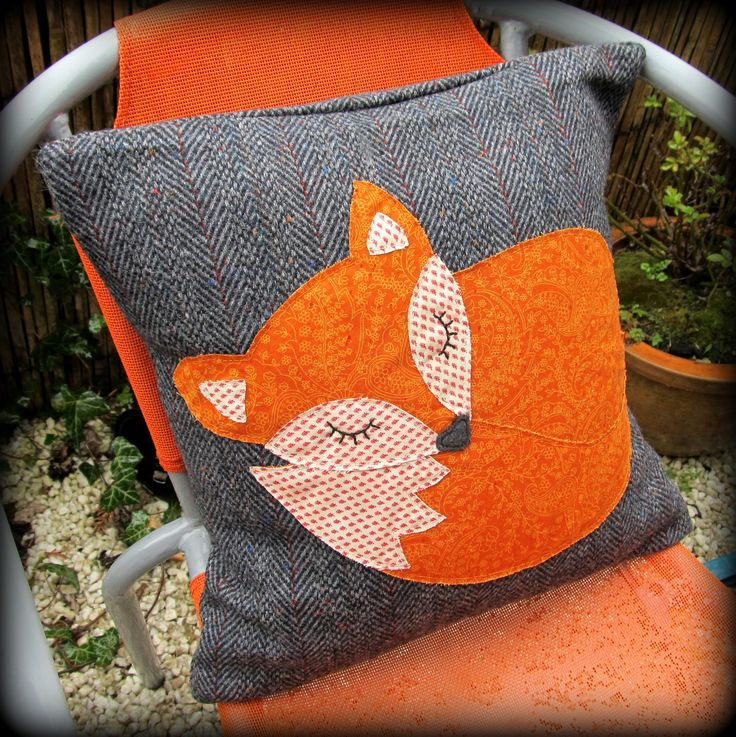 Snoozy fox cushion,  snoozy fox pillow.. £25.00, via Etsy.