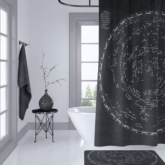 Star Map Shower Curtain Vintage Astronomy Home Decor Bathroom Space Travel Black And Beige Masculine Bathroom Shower Curtains Unique Curtains Bathroom Mirror With Shelf