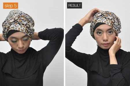 Headcover technique tutorial in Indonesian: Turban Style Head Wrap (hijab), on www.vemale.com, 7 Jun. 2012. Learn how to tie a long rectangular scarf over an underscarf.