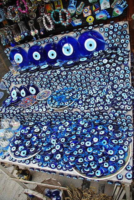 Evil eye market: I'm not sure if this specific one is in Greece, but you see displays like this all over.