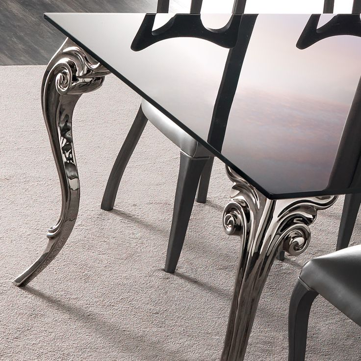 Large Black Lacquered Glass Dining Table Set