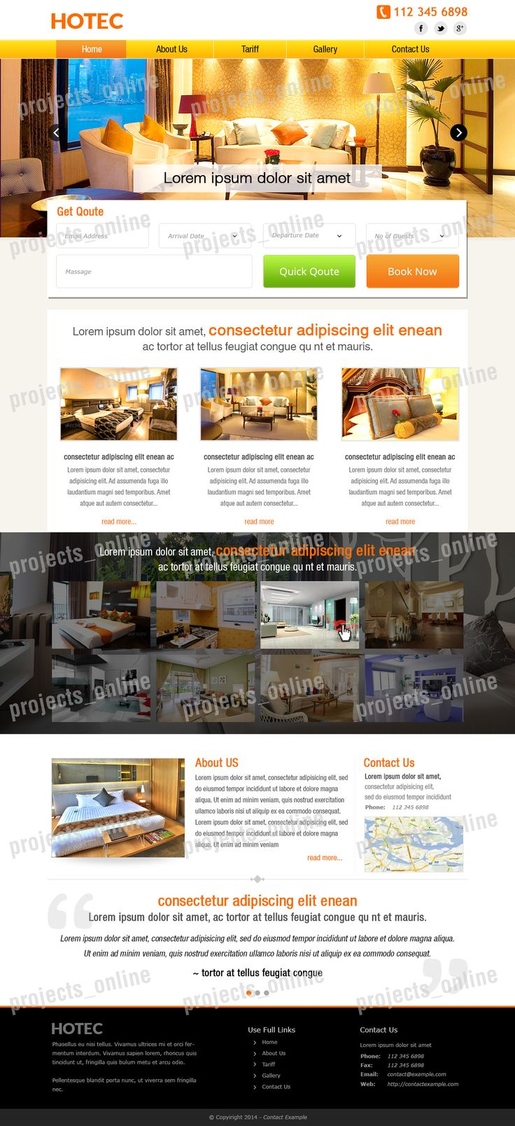 Homepage mock-up for a Hotel/ apartment website