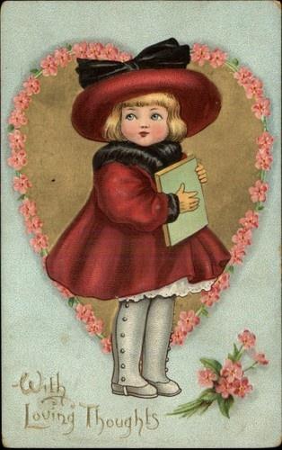 Tuck Dainty Dimples Valentine Girl Pretty Hat Coat Heart Embossed c1910 Postcard | eBay